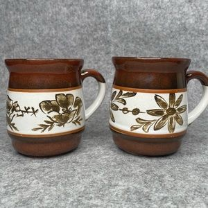 Two Vintage Floral Coffee Mugs Made in Jap…